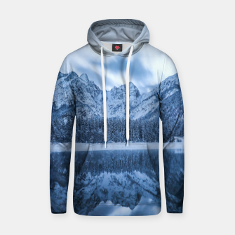 Thumbnail image of Majestic mountain Mangart reflection Fusine lake Italy Hoodie, Live Heroes