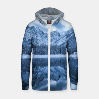 Thumbnail image of Majestic mountain Mangart reflection Fusine lake Italy Zip up hoodie, Live Heroes