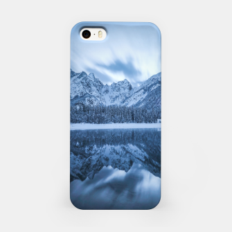 Miniatur Majestic mountain Mangart reflection Fusine lake Italy iPhone Case, Live Heroes