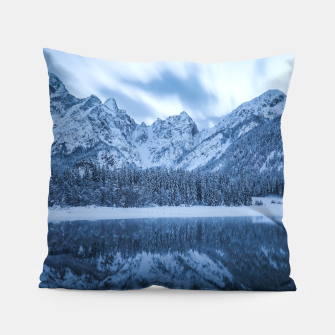 Miniatur Majestic mountain Mangart reflection Fusine lake Italy Pillow, Live Heroes