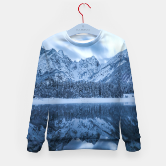 Miniatur Majestic mountain Mangart reflection Fusine lake Italy Kid's sweater, Live Heroes