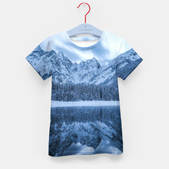 Miniatur Majestic mountain Mangart reflection Fusine lake Italy Kid's t-shirt, Live Heroes