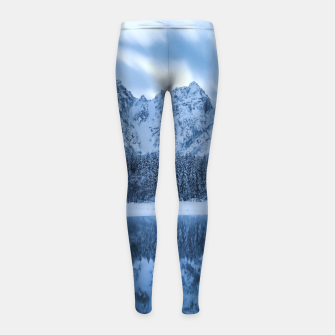 Miniatur Majestic mountain Mangart reflection Fusine lake Italy Girl's leggings, Live Heroes
