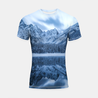 Miniatur Majestic mountain Mangart reflection Fusine lake Italy Shortsleeve rashguard, Live Heroes