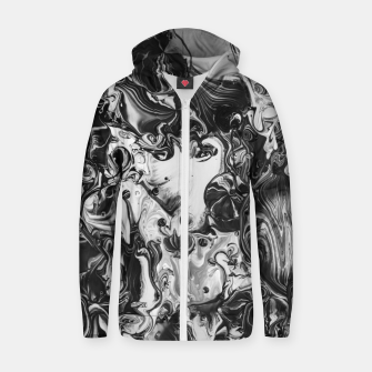 Thumbnail image of black and white abstract art Zip up hoodie, Live Heroes