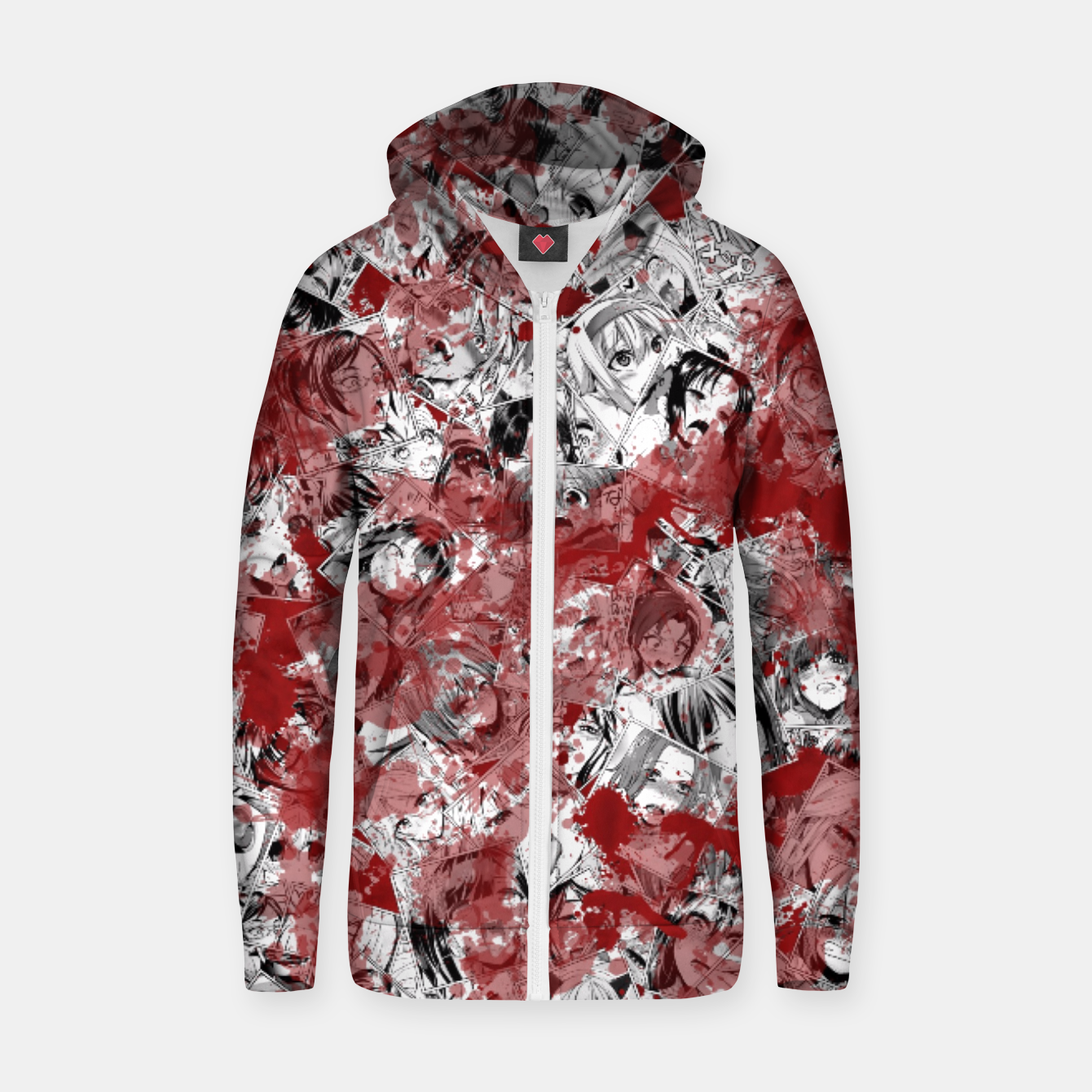 Image of Bloody Ahegao Zip up hoodie - Live Heroes