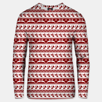 Thumbnail image of Dark Christmas Candy Apple Red Nordic Reindeer Stripe in White Unisex sweater, Live Heroes