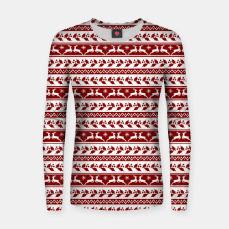 Thumbnail image of Dark Christmas Candy Apple Red Nordic Reindeer Stripe in White Women sweater, Live Heroes