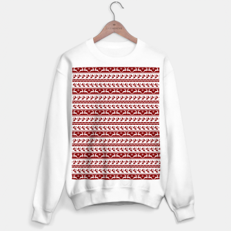 Thumbnail image of Dark Christmas Candy Apple Red Nordic Reindeer Stripe in White Sweater regular, Live Heroes