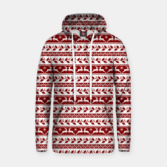 Thumbnail image of Dark Christmas Candy Apple Red Nordic Reindeer Stripe in White Hoodie, Live Heroes