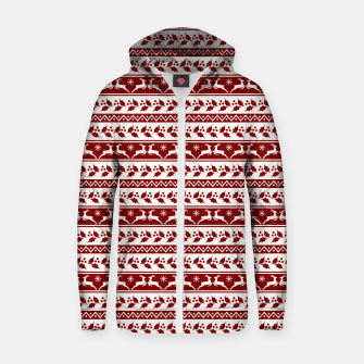 Thumbnail image of Dark Christmas Candy Apple Red Nordic Reindeer Stripe in White Zip up hoodie, Live Heroes