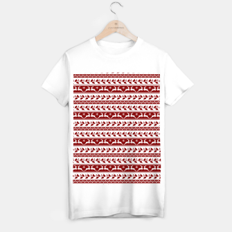 Thumbnail image of Dark Christmas Candy Apple Red Nordic Reindeer Stripe in White T-shirt regular, Live Heroes