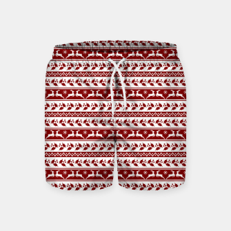 Thumbnail image of Dark Christmas Candy Apple Red Nordic Reindeer Stripe in White Swim Shorts, Live Heroes