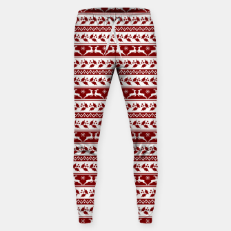 Thumbnail image of Dark Christmas Candy Apple Red Nordic Reindeer Stripe in White Sweatpants, Live Heroes