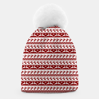 Thumbnail image of Dark Christmas Candy Apple Red Nordic Reindeer Stripe in White Beanie, Live Heroes