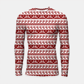 Thumbnail image of Dark Christmas Candy Apple Red Nordic Reindeer Stripe in White Longsleeve rashguard , Live Heroes