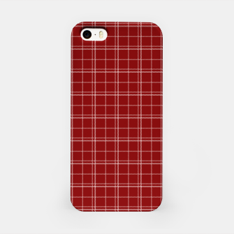 Imagen en miniatura de Dark Christmas Candy Apple Red Plaid Check with White iPhone Case, Live Heroes