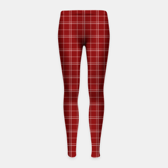 Thumbnail image of Dark Christmas Candy Apple Red Plaid Check with White Girl's leggings, Live Heroes