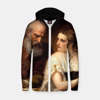 Thumbnail image of Philosophy and Christian Art by Daniel Huntington Zip up hoodie, Live Heroes