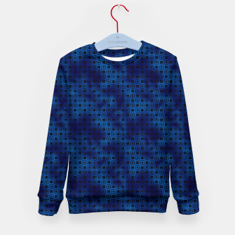 Thumbnail image of Circle Rings in Black and Classic Blue Vintage Faux Foil Art Deco Vintage Foil Pattern Kid's sweater, Live Heroes