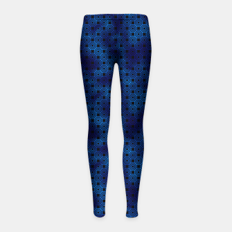 Thumbnail image of Circle Rings in Black and Classic Blue Vintage Faux Foil Art Deco Vintage Foil Pattern Girl's leggings, Live Heroes
