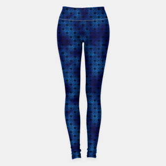 Thumbnail image of Circle Rings in Black and Classic Blue Vintage Faux Foil Art Deco Vintage Foil Pattern Leggings, Live Heroes