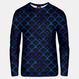 Thumbnail image of Dotted Scales in Black and Classic Blue Vintage Faux Foil Art Deco Vintage Foil Pattern Unisex sweater, Live Heroes