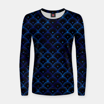 Thumbnail image of Dotted Scales in Black and Classic Blue Vintage Faux Foil Art Deco Vintage Foil Pattern Women sweater, Live Heroes