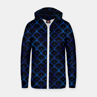 Thumbnail image of Dotted Scales in Black and Classic Blue Vintage Faux Foil Art Deco Vintage Foil Pattern Zip up hoodie, Live Heroes