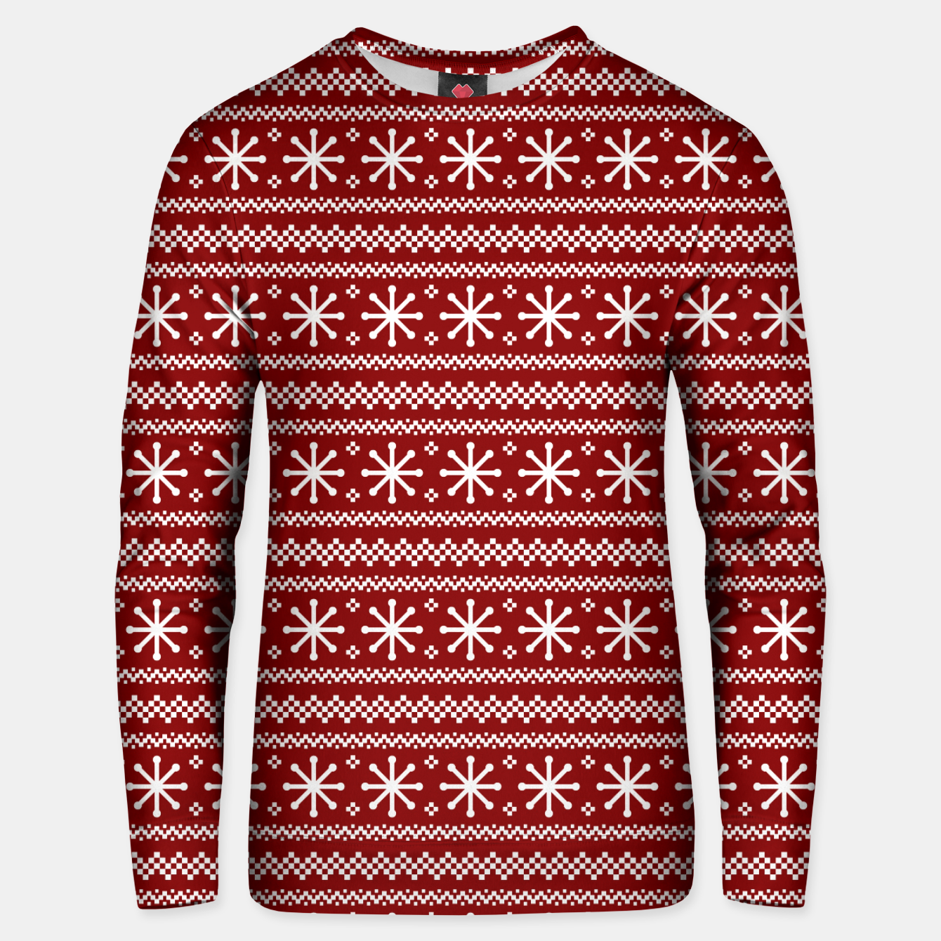 Imagen de Dark Christmas Candy Apple Red Snowflake Stripes in White Unisex sweater - Live Heroes