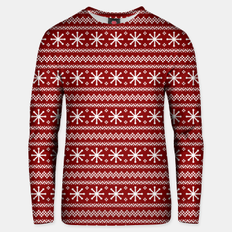 Imagen en miniatura de Dark Christmas Candy Apple Red Snowflake Stripes in White Unisex sweater, Live Heroes