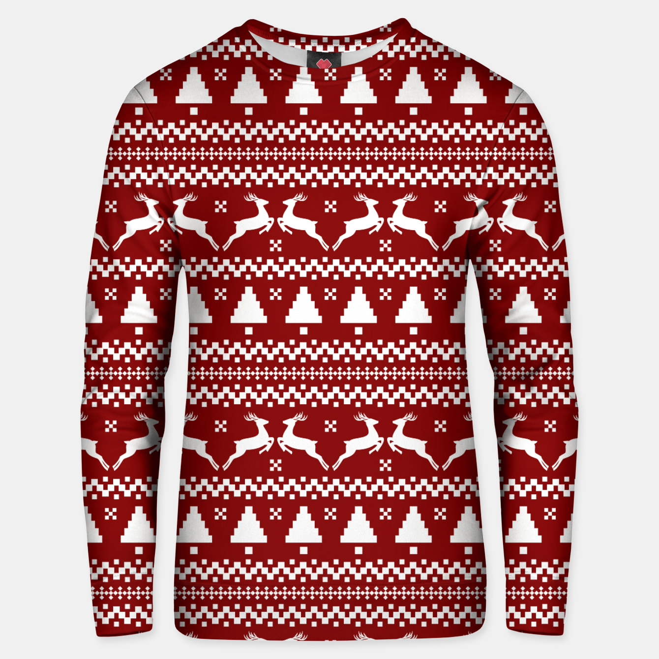 Imagen de Large Dark Christmas Candy Apple Red Nordic Reindeer Stripe in White Unisex sweater - Live Heroes
