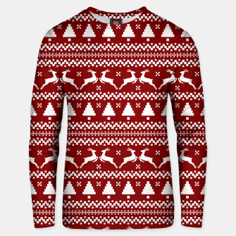 Imagen en miniatura de Large Dark Christmas Candy Apple Red Nordic Reindeer Stripe in White Unisex sweater, Live Heroes