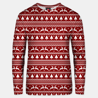 Imagen en miniatura de Dark Christmas Candy Apple Red Nordic Reindeer Stripe in White Unisex sweater, Live Heroes