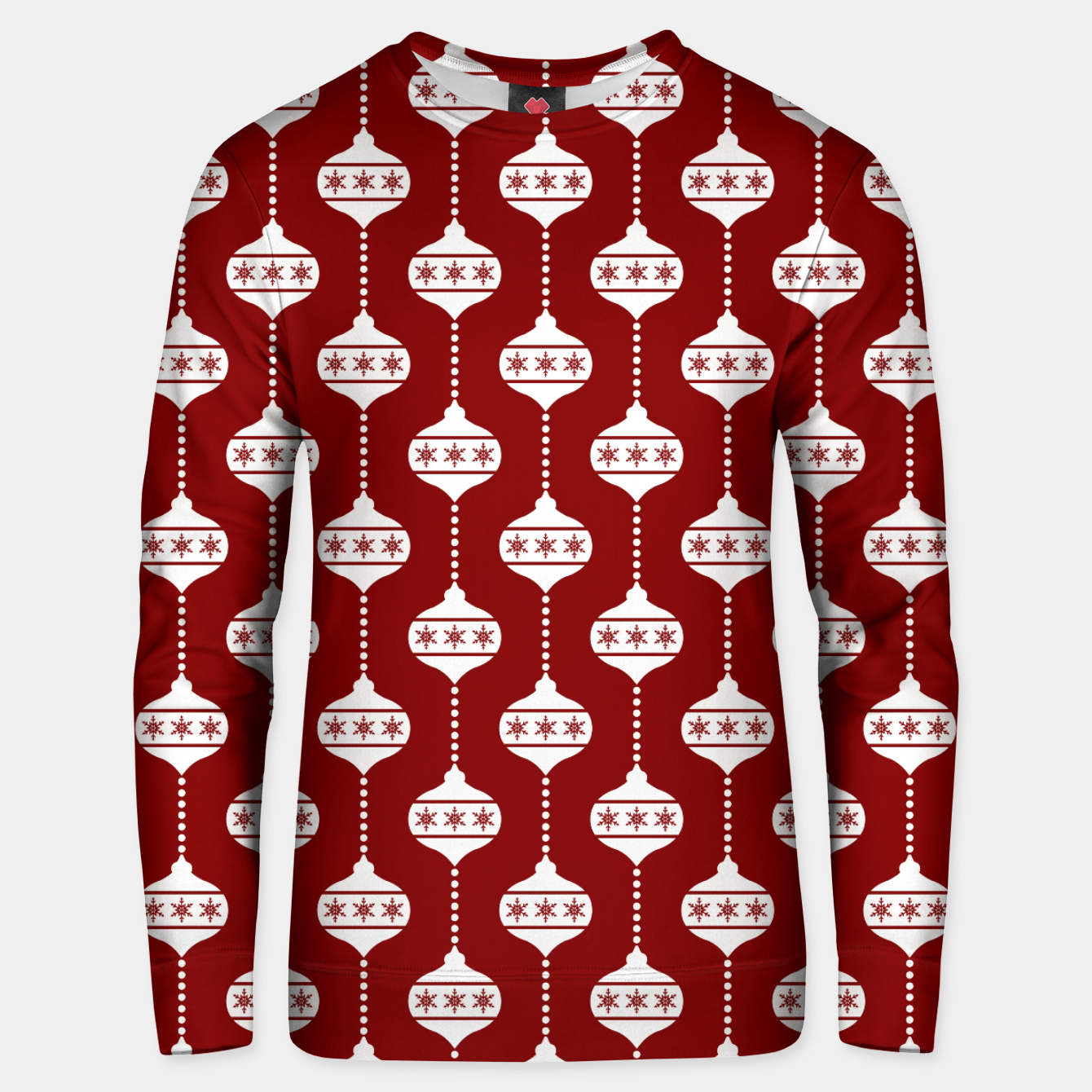 Imagen de Large Dark Christmas Candy Apple Red with White Ball Ornaments Unisex sweater - Live Heroes