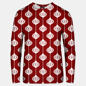 Imagen en miniatura de Large Dark Christmas Candy Apple Red with White Ball Ornaments Unisex sweater, Live Heroes