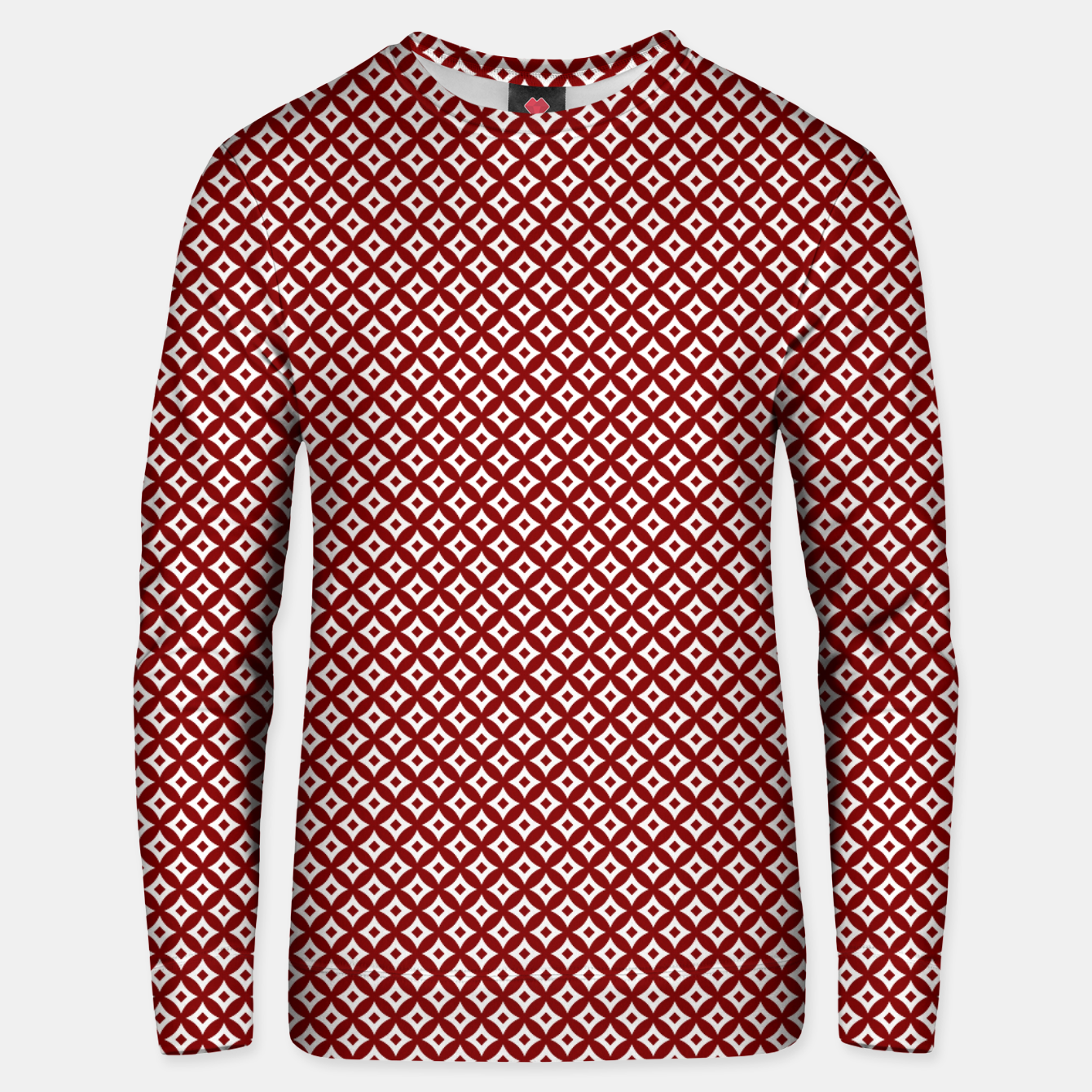 Imagen de Large Dark Christmas Candy Apple Red and White Cross-Hatch Astroid Grid Pattern Unisex sweater - Live Heroes