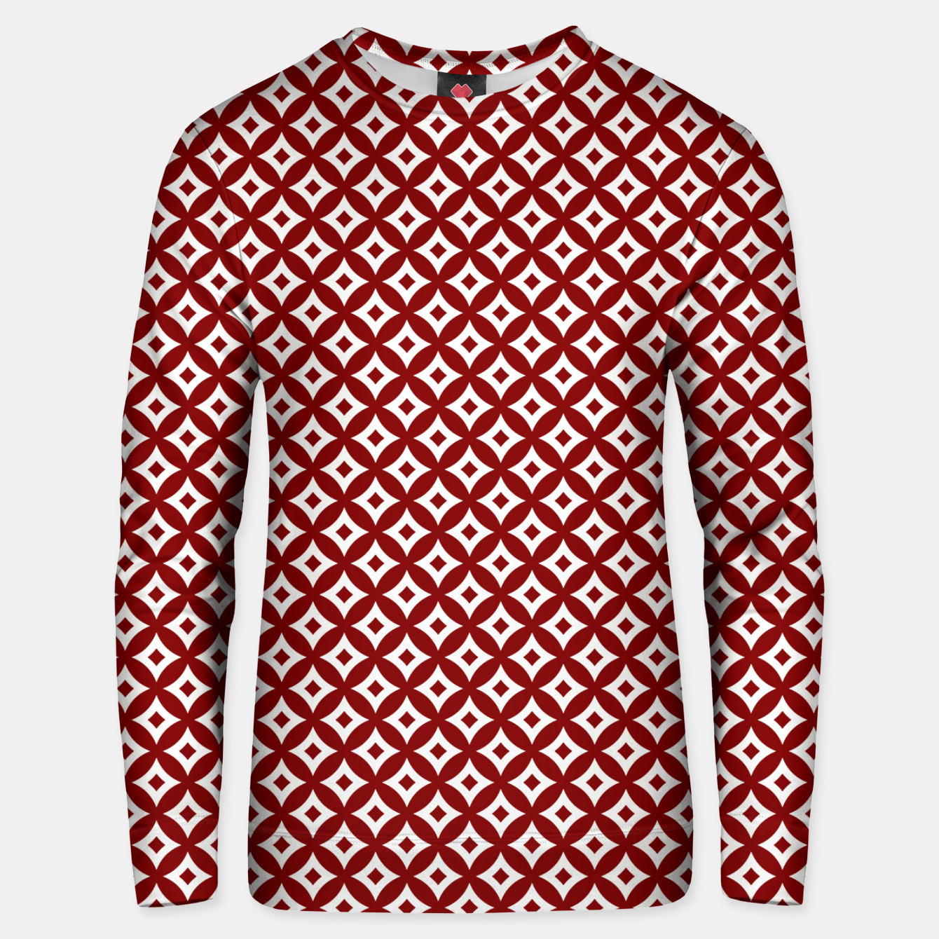 Imagen de Dark Christmas Candy Apple Red and White Cross-Hatch Astroid Grid Pattern Unisex sweater - Live Heroes