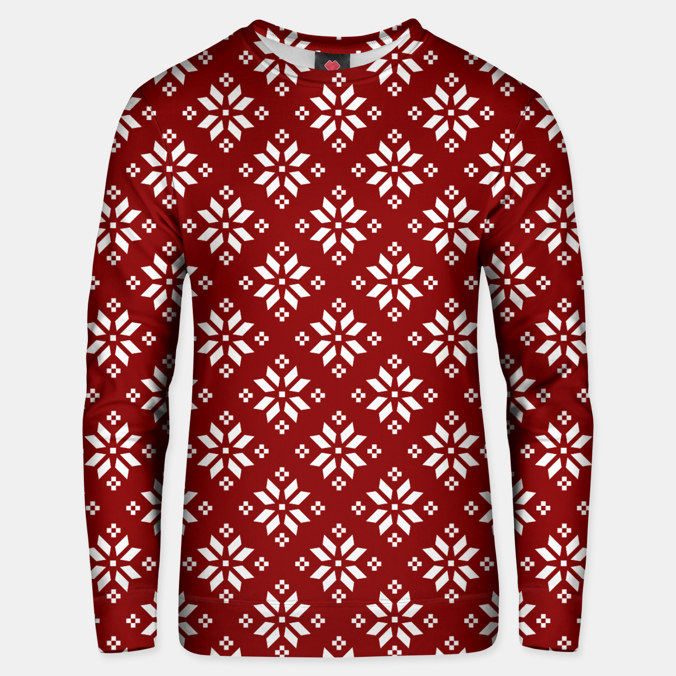 Imagen de Large Dark Christmas Candy Apple Red with White Poinsettia Flowers Unisex sweater - Live Heroes