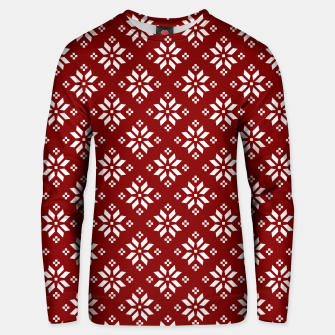 Thumbnail image of Large Dark Christmas Candy Apple Red with White Poinsettia Flowers Unisex sweater, Live Heroes