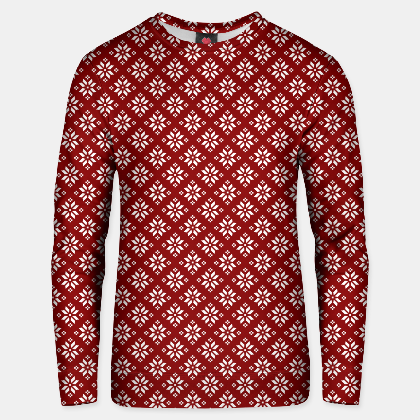 Imagen de Dark Christmas Christmas Candy Apple Red with White Poinsettia Flowers Unisex sweater - Live Heroes