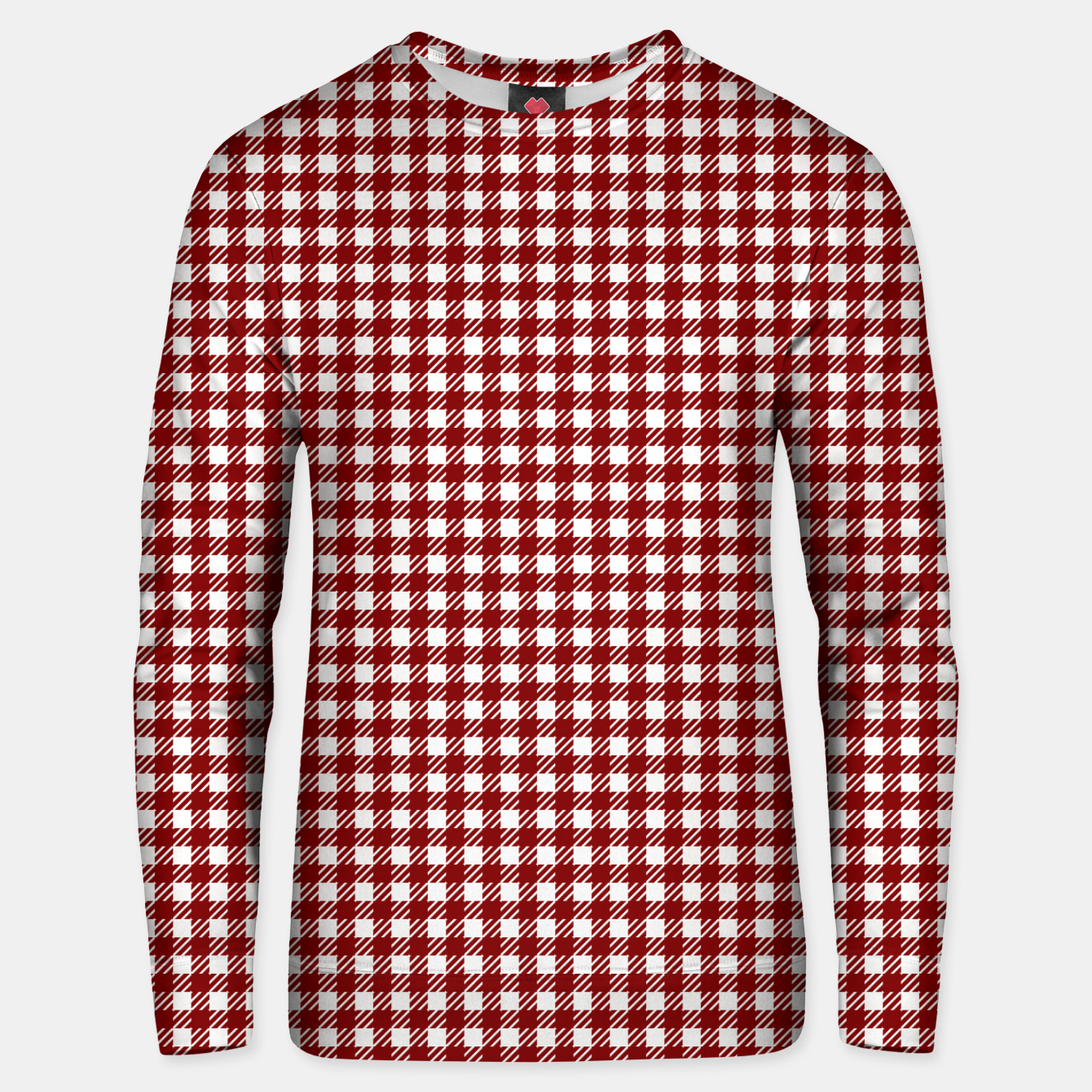 Imagen de Dark Christmas Candy Apple Red Gingham Plaid Check Unisex sweater - Live Heroes