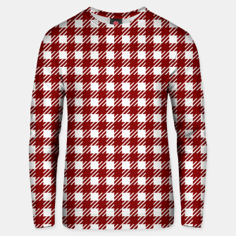 Imagen en miniatura de Large Dark Christmas Candy Apple Red Gingham Plaid Check Unisex sweater, Live Heroes