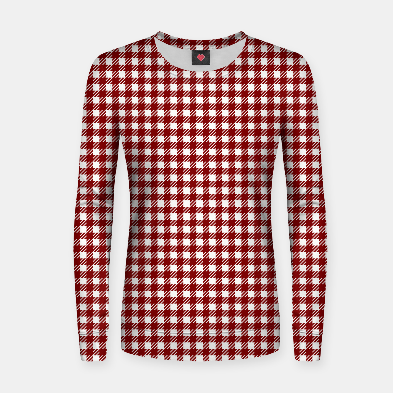 Imagen de Dark Christmas Candy Apple Red Gingham Plaid Check Women sweater - Live Heroes