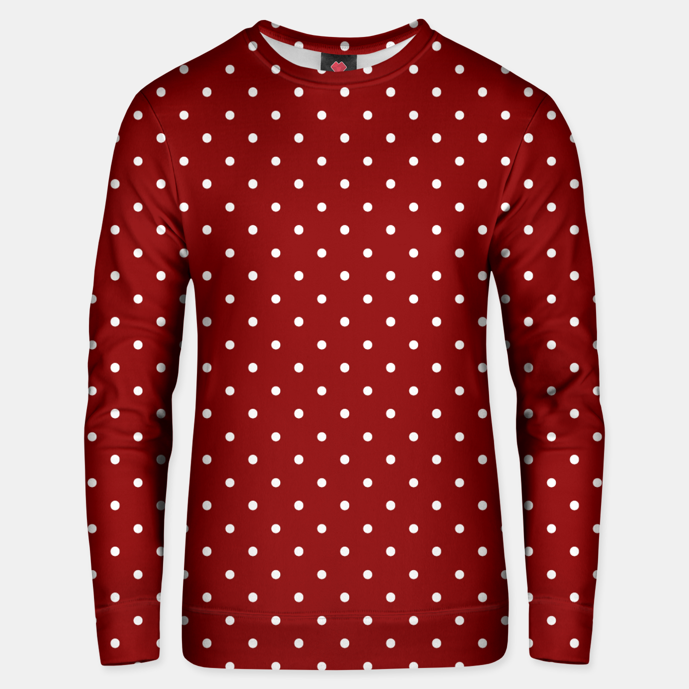 Imagen de Large White Polka Dots On Dark Christmas Candy Apple Red Unisex sweater - Live Heroes