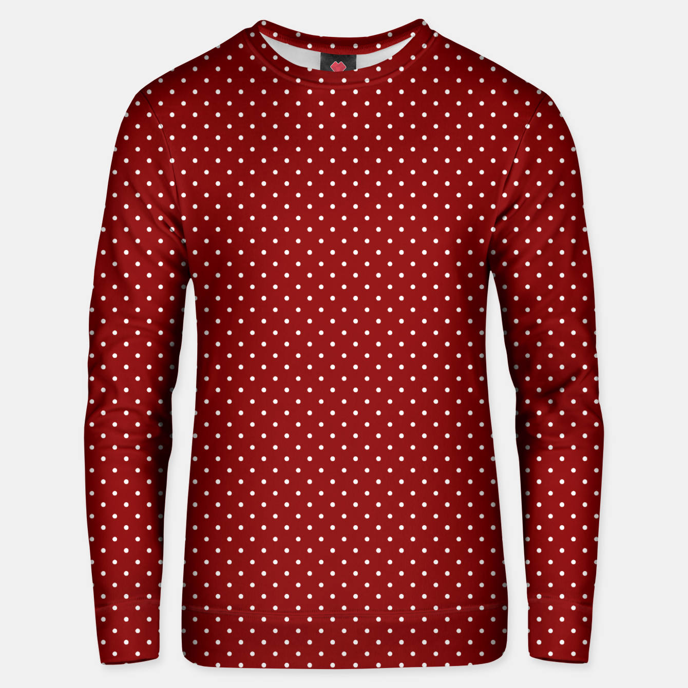 Imagen de White Polka Dots On Dark Christmas Candy Apple Red Unisex sweater - Live Heroes