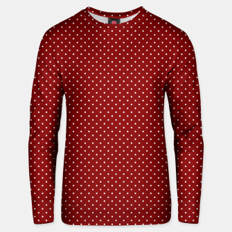 White Polka Dots On Dark Christmas Candy Apple Red Unisex sweater imagen en miniatura