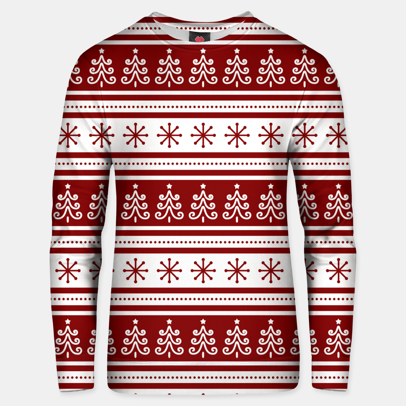 Imagen de Large Dark Christmas Candy Apple Red Nordic Trees Stripe in White Unisex sweater - Live Heroes