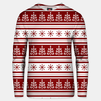 Thumbnail image of Large Dark Christmas Candy Apple Red Nordic Trees Stripe in White Unisex sweater, Live Heroes