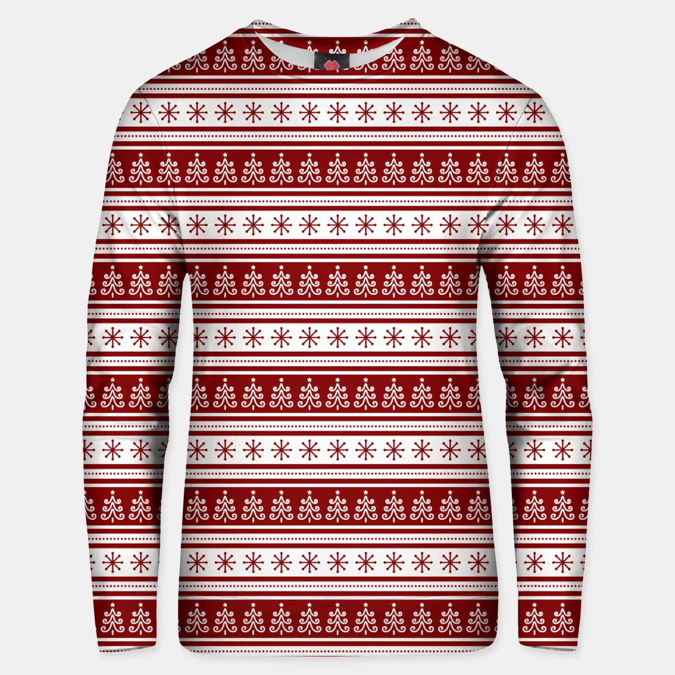 Imagen de Dark Christmas Candy Apple Red Nordic Trees Stripe in White Unisex sweater - Live Heroes